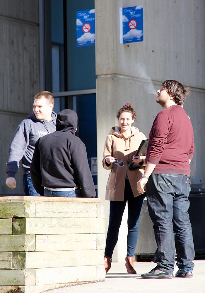 A recent campus-wide survey showed 44 per cent of Western community members don't feel the university's smoking policy is effective in Clean Air Corridors, such as here in front of the D. B. Weldon Library, as well as within 10 metres of a doorway, window, air intakes or loading docks.