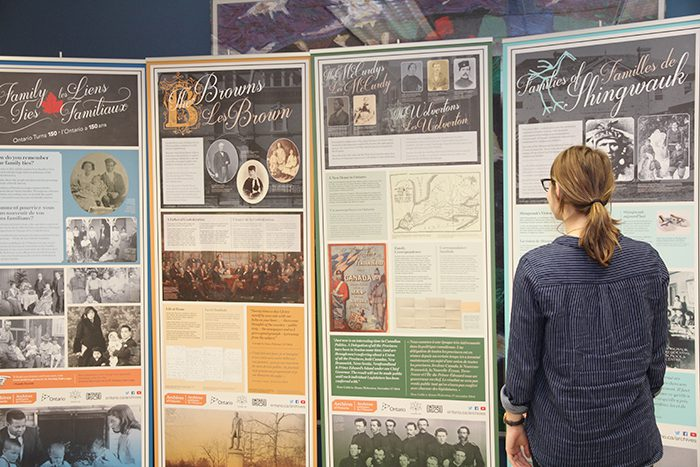 Amberley Zavitz-Li checked out the Family Ties: Ontario Turns 150 exhibit when it was on display in the Allyn and Betty Taylor Library in the Natural Sciences Building. The exhibit features stories related to Confederation-era families and is part of the university's Canada 150 celebrations.