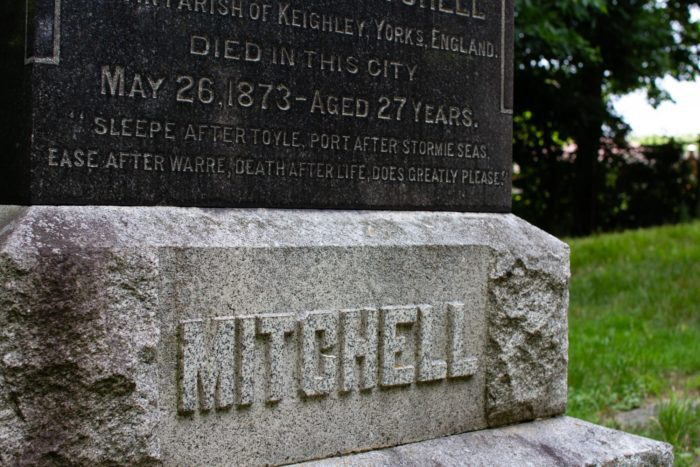 """Memorial monument for the """"unknown dead"""" and Johnathan Mitchell"""