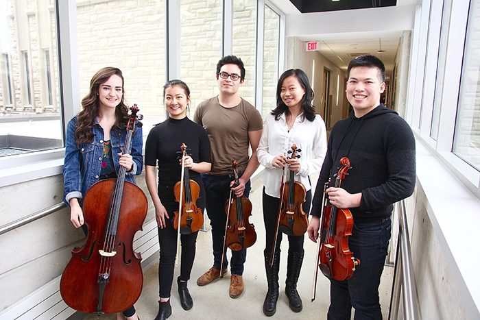 Don Wright Faculty of Music Students Anna Grigg, Dorothy Lin, Christian Wrona, Jillian Yang and Darren Mak have secured a highly-coveted spot on the National Youth Orchestra of Canada this summer. The orchestra will perform specially-commissioned works in 11 cities across Canada in July and August in honour of Canada's 150th anniversary.