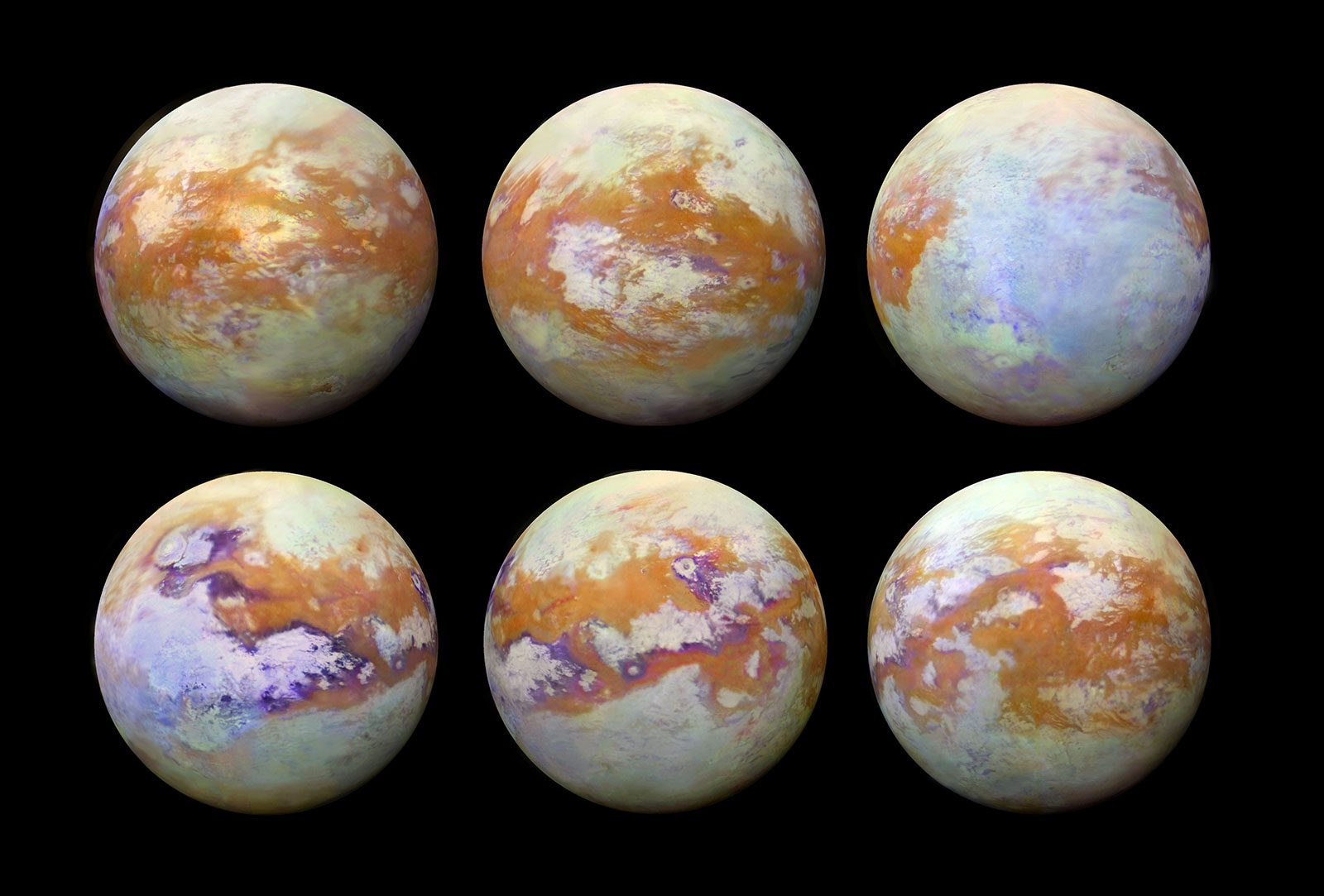 six images of Saturn's moon Titan