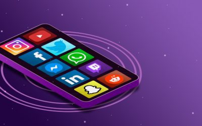 cell phone with social media icons graphic